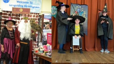 Jayne Dumbledor and owl from Brownie Wizarding Day-horz